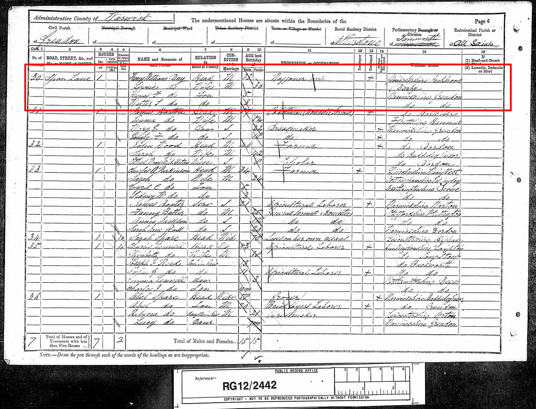 1891 - Day, Walter Sidney - 1891 Census - WARRG12_2442_2444-0013