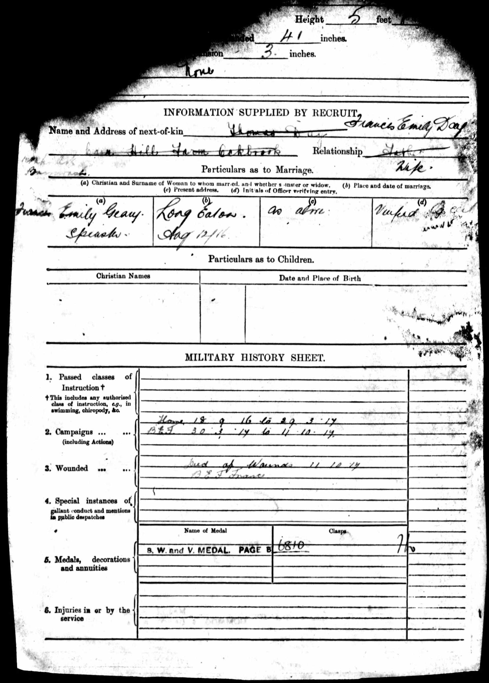 1916-1917 - Day, Walter Sidney - Service Record - MIUK1914H_132377-00475