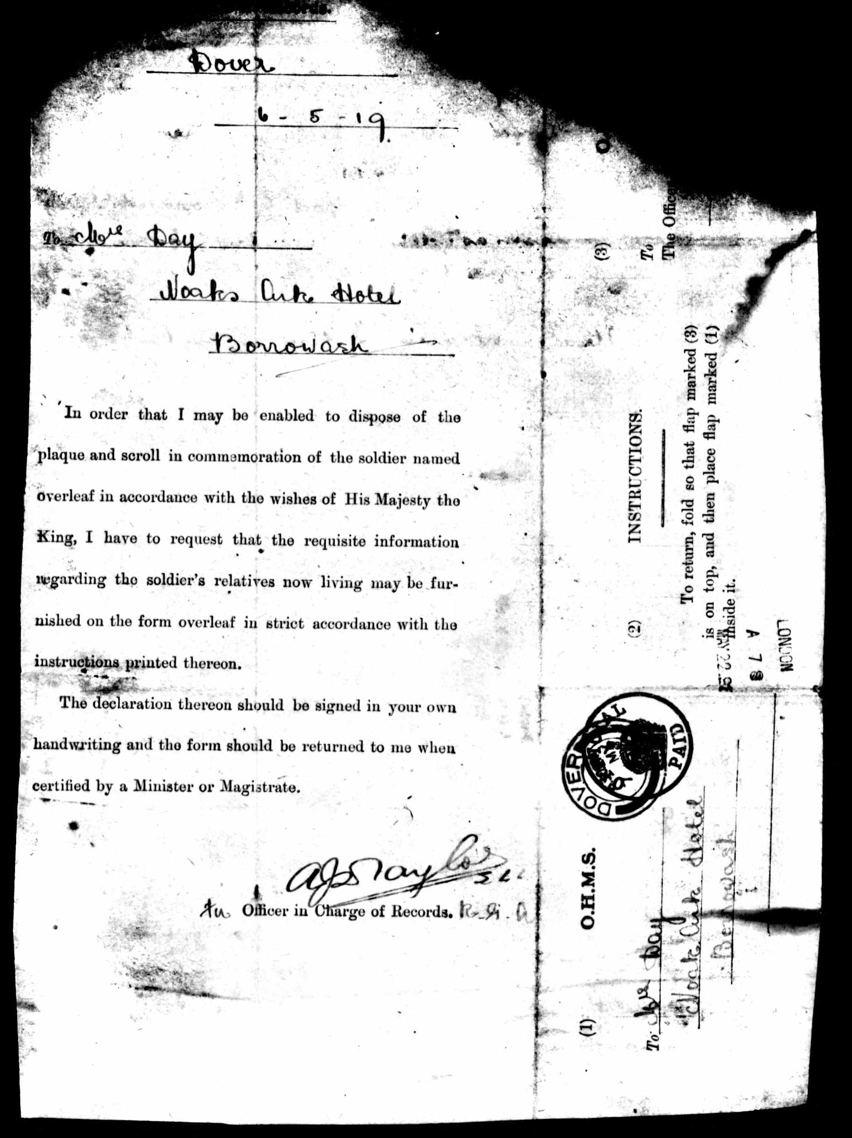 1916-1917 - Day, Walter Sidney - Service Record - MIUK1914H_132377-00479