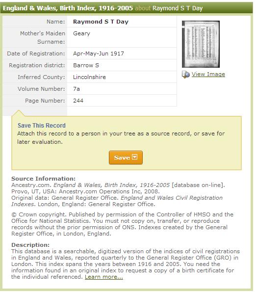 1917 - Day, Raymond S T (son) - Birth - England   Wales, Birth Index, 1916-2005 - Ancestry.co.uk