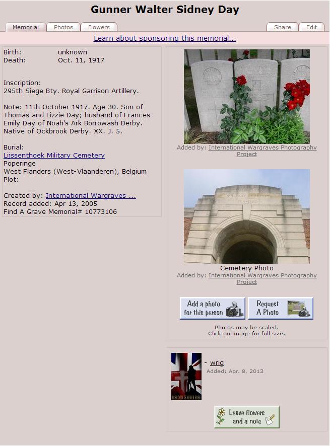 1917 - Gunner Walter Sidney Day   - 1917  - Find A Grave Memorial