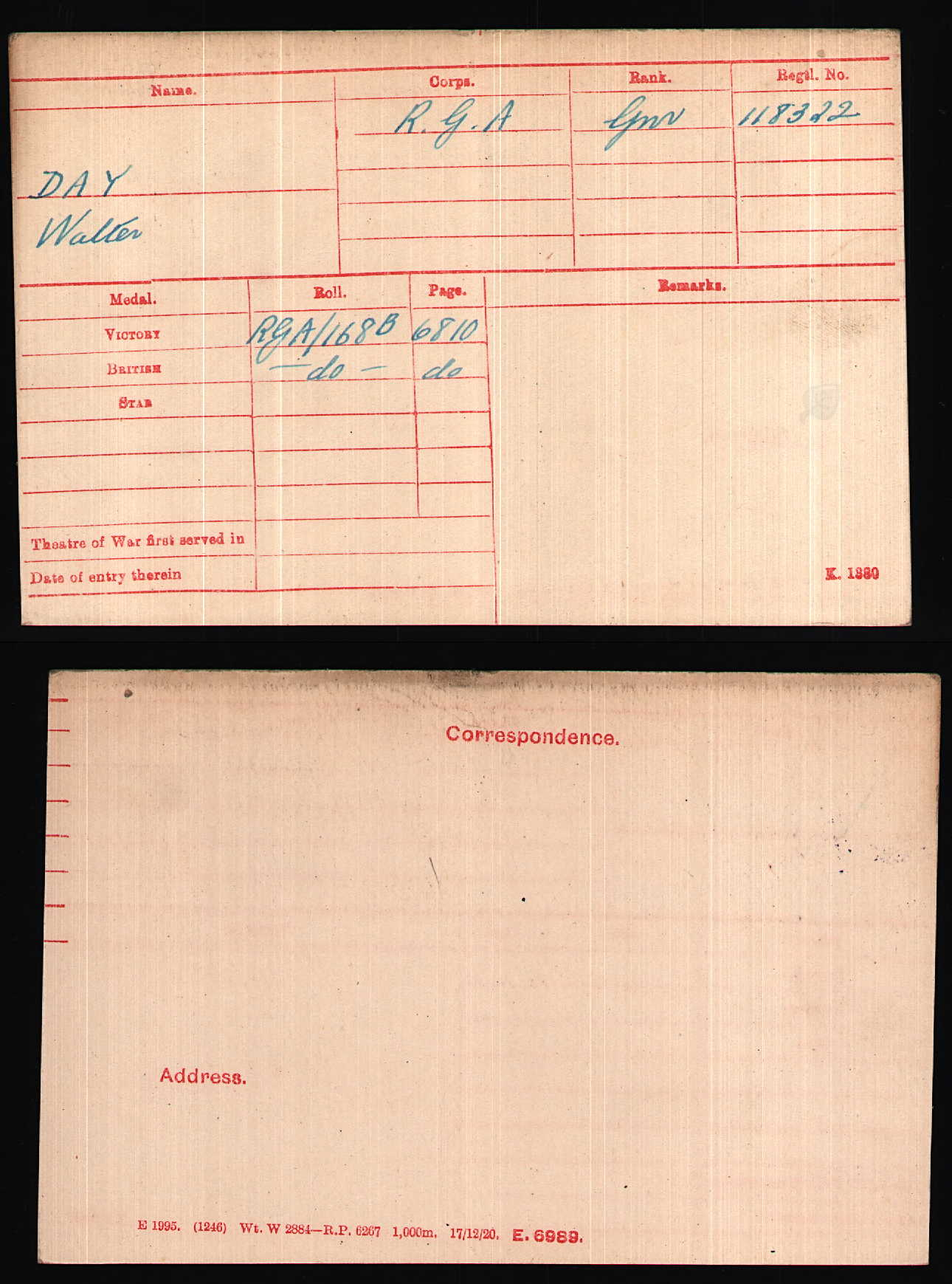 1920 - Day, Walter - Medal Card - 30850_A000431-00630