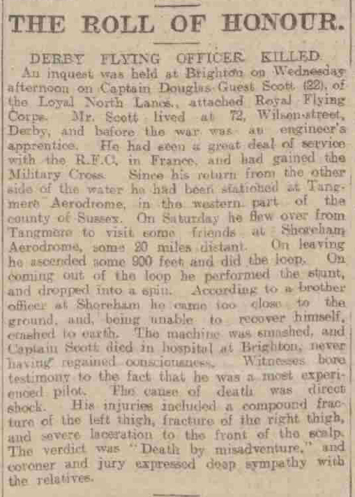 1918-03-21 Derby Daily Telegraph - D Guest Scott Death