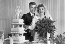 Tom and Audrey on their wedding day