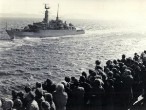 Geoff Oakey's ship, HMS Active leaving for the Falkland Islands