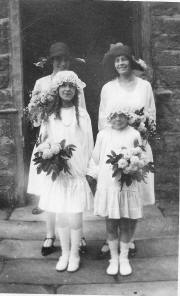 Annie Dakin as a bridesmaid (far left)